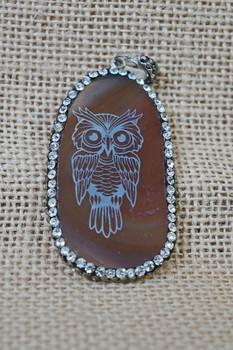 Laser Engraved Agate Owl Pendant