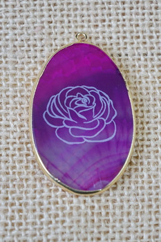 Laser Engraved Rose on a beautiful agate pendant.
