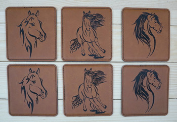 "Set of six 4""x 4"" custom engraved coasters."