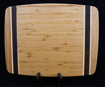 "Deluxe Large Sized 15.3""x 11.8"" Bamboo Cutting Board With Contrasting Inlay Strips"