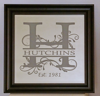 "12""x 12"" Custom Laser Engraved Monogram Mirror"