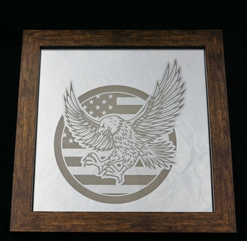 "12"" x 12"" Eagle and Flag Mirror with frame."