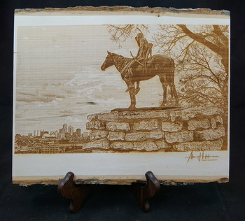 """The Scout""...a laser engraved photo of the iconic Scout statue in Kansas City, MO"