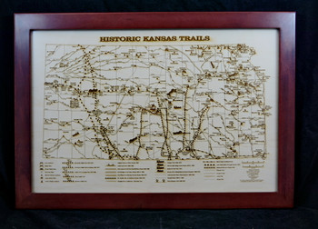 Historic Trails of Kansas Laser Engraved Map