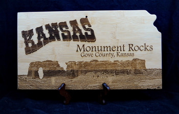 Laser Engraved Monument Rocks Kansas Bamboo Cutting Board