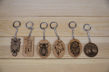 Custom Engraved Alder Wood Keychains