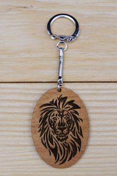 Tribal Lion Wood Keychain