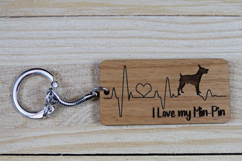 I love my Min-Pin wooden keychain