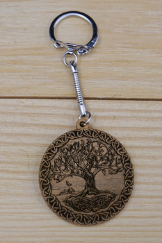 Celtic Tree of Life Laser Engraved Solid Wood Keychain