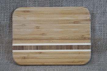 Small Custom Engraved Bamboo Cutting Board with Inlay Strips