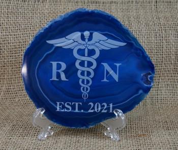 Blue Agate with Nurse Symbol