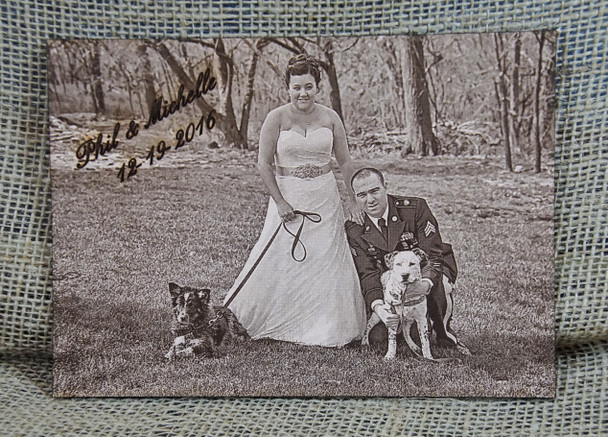 Wedding Photo Engraved on Leather...The perfect third anniversary gift!