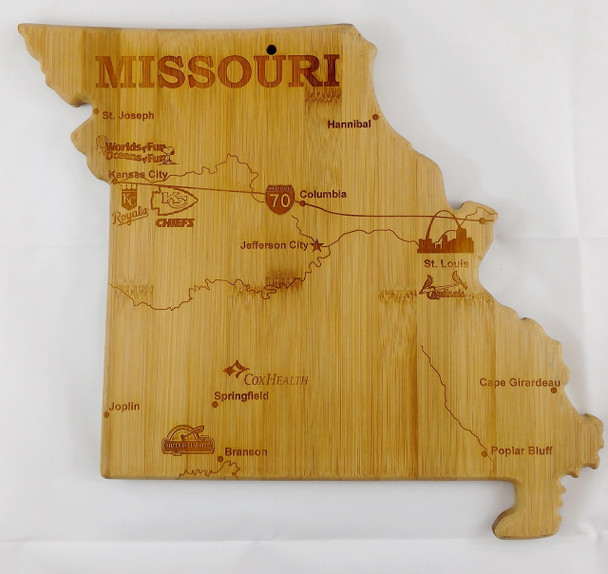 Missouri Shaped Laser Engraved Bamboo Cutting Board