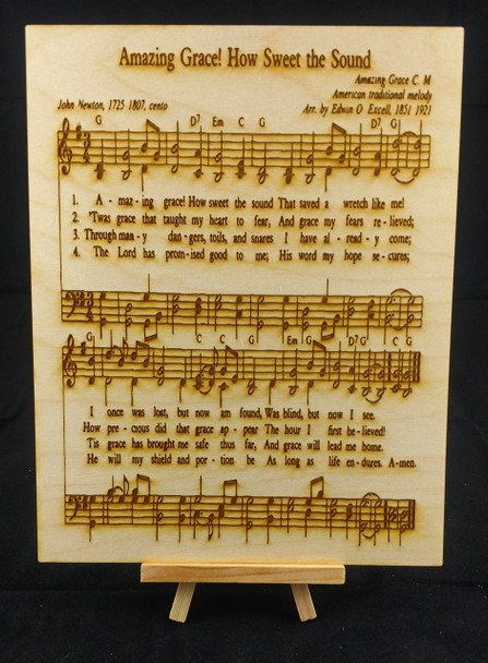 "Amazing Grace Sheet Music laser engraved on a 8x10 sheet of 1/8"" birch plywood."