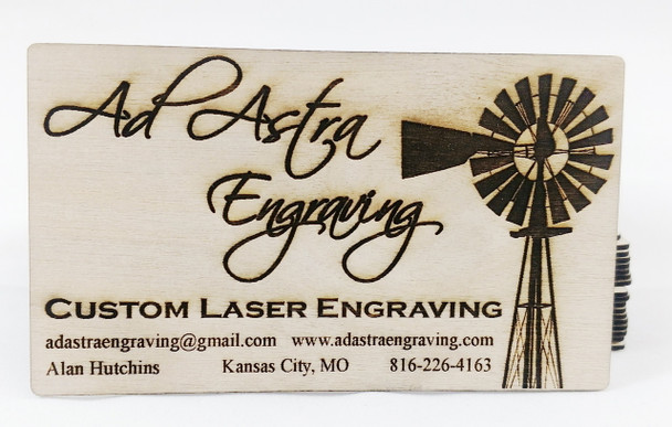 Custom Engraved Wood Business Cards
