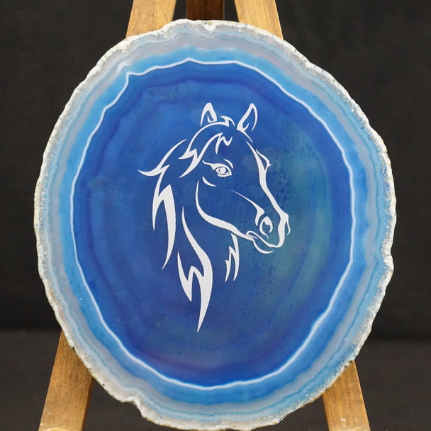 Blue Agate with Horse