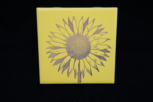 Laser Engraved Ceramic Sunflower Tile