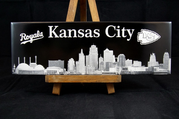 Kansas City Skyline Laser Engraved Tile