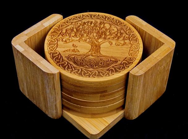 Celtic Tree of Life Bamboo Coaster Set