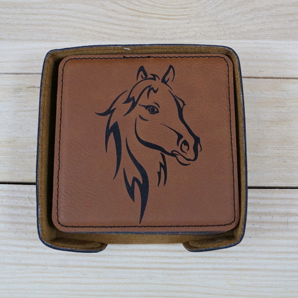 Custom Engraved Leatherette Coasters