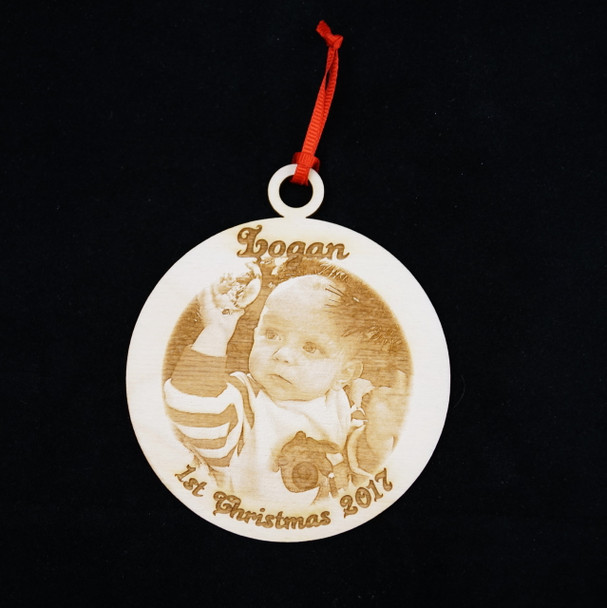 Your Photo Laser Engraved on a Wooden Ornament