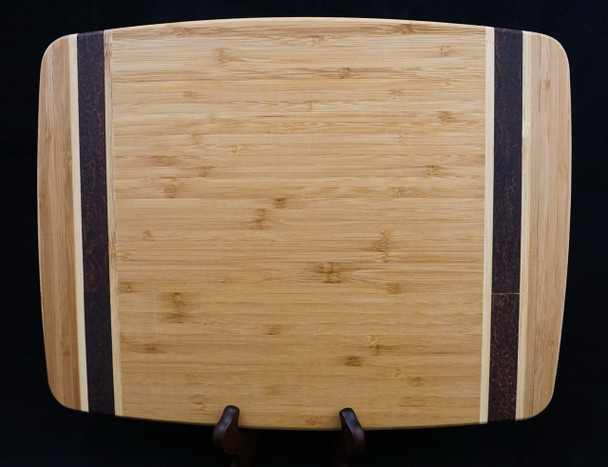 """Deluxe Medium Sized 13""""x 9.8"""" Bamboo Cutting Board With Contrasting Inlay Strips"""