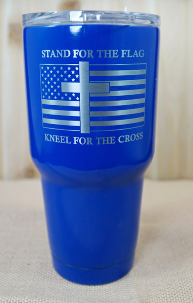 Stand for the flag, Kneel for the cross laser engraved 30 ounce stainless steel tumbler