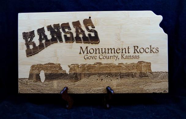 Laser Engraved Monument Rocks Kansas Bamboo Cutting Board