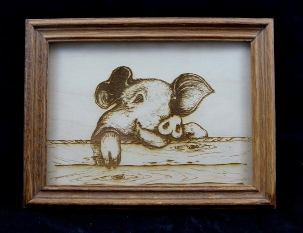 Cute Pig drawing laser engraved on wood.