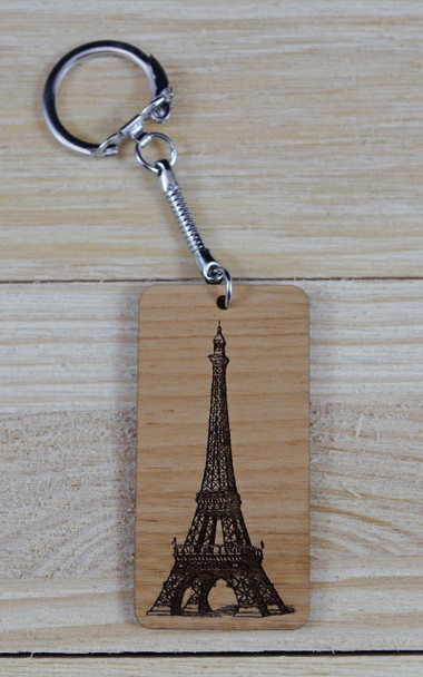 Eiffel Tower Solid Alder Wood Keychain