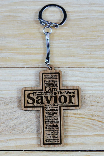 Names of Christ Cross Shaped Keychain