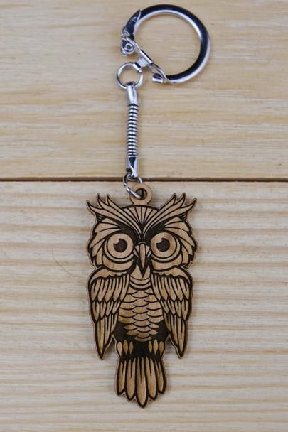 Laser engraved wooden Owl keychain