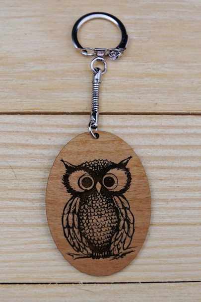 Laser engraved wood Keychain with Owl graphic