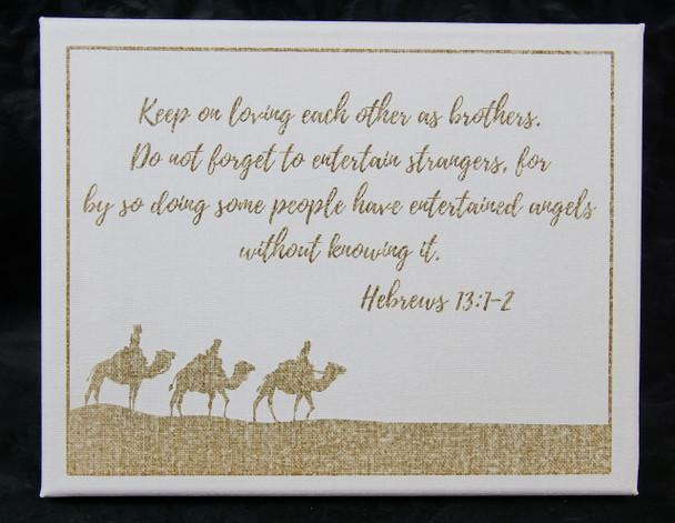Hebrews 13:1-2 Laser Engraved Canvas Wall Art