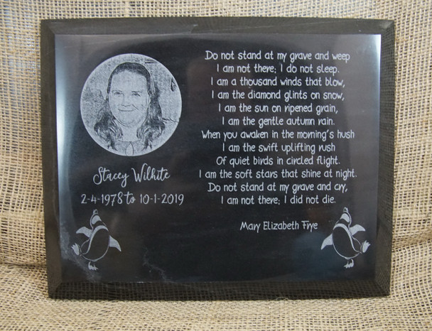 Laser Engraved Black Marble Memorial Plaque.