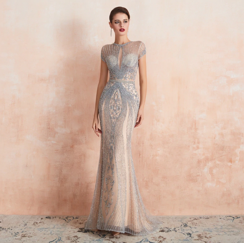 Amanda Couture Gown - Silver/Nude