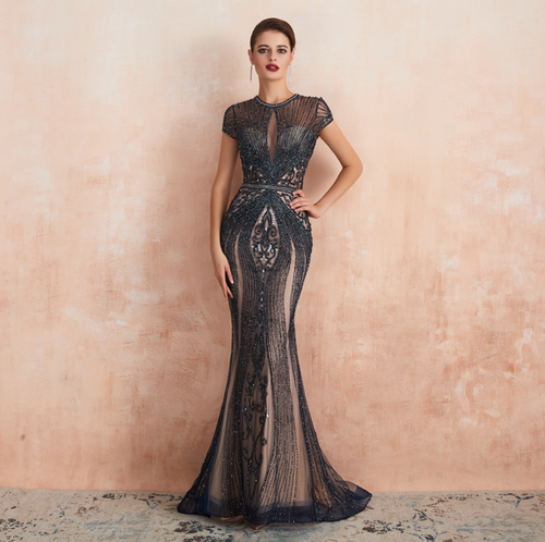 Amanda Couture Gown - Navy/Nude