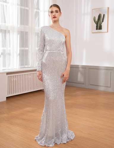 Lacey Sequin Gown - Silver