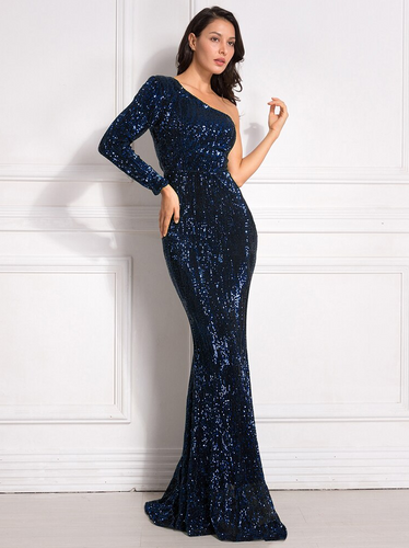 Lacey Sequin Gown - Navy