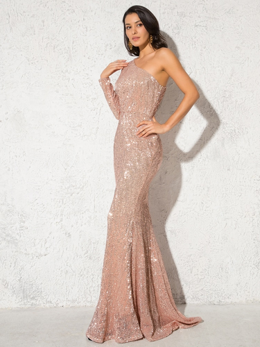 Lacey Sequin Gown - Champagne