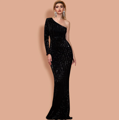 Mila Label Lacey Gown - Black