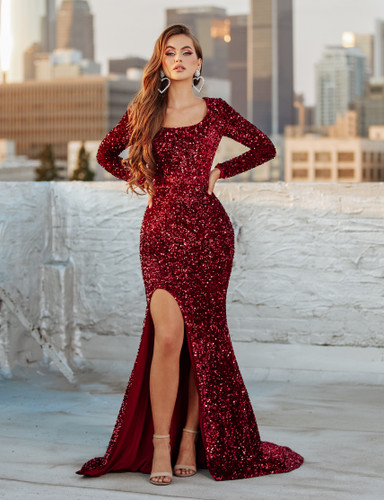 Portia & Scarlett PS21031 Gown - Deep Red