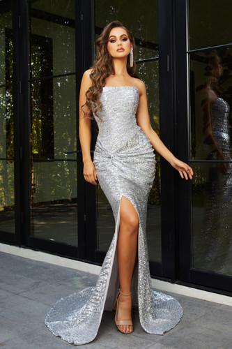 Portia & Scarlett PS21286 Gown - Silver