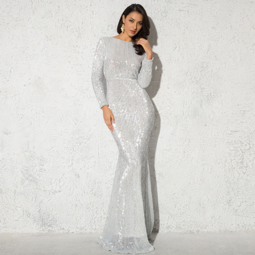 Mila Label Amirah Gown - Silver