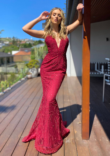 Jadore JX5002 Gown - Wine