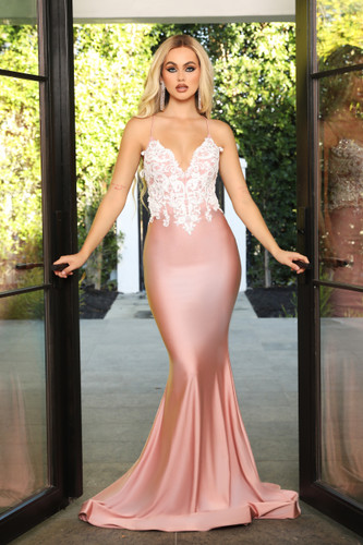 Portia & Scarlett PS21116 Gown - Blush/Ivory