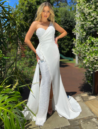 white evening long gown