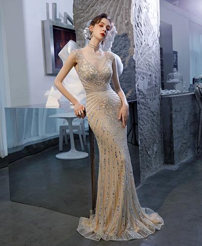 Mila Label Bridgette Gown - Nude/Silver