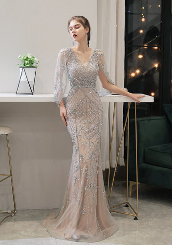 Mila Label Amalie Gown - Nude/Silver
