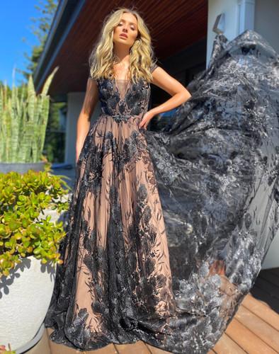 Jadore JX5036 Gown - Black/Nude